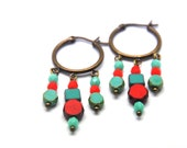 Joyful earrings, made with red and turquoise Picasso opaque czech glass beads and beautiful antiqued brass loops