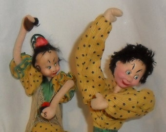 A Pair of Hand painted Expressive  Klumpel  Spanish Dancers