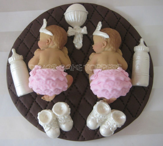 Twins Princess Girls CAKE TOPPER Baby Shower by ...