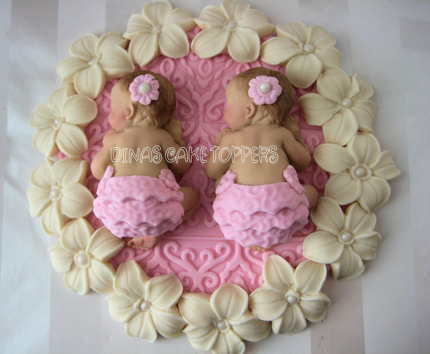 Twin girls pink baby Shower First Birthday by DinasCakeToppers