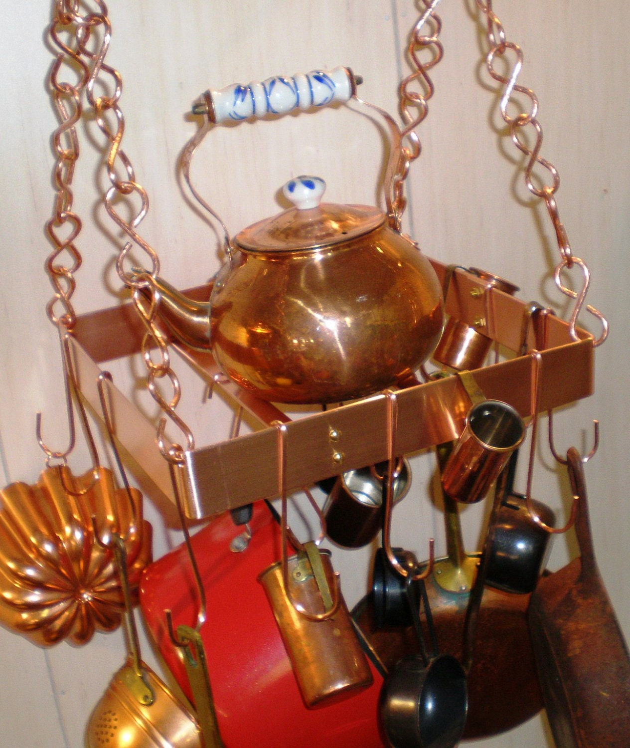12 Inch SQUARE Hanging Solid Copper Pot Rack with 16 hooks and