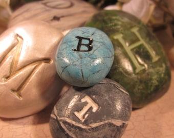 Memorial Handpainted Monogram Keepsake Pocket or Bowl Cremains Stone - Custom Handmolded Pottery Pet Cremation Rock