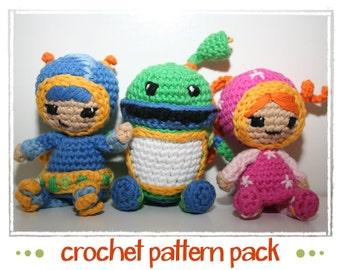 Milli, Geo & Bot - Team Umizoomi - Crochet Pattern - PDF files - Amigurumi