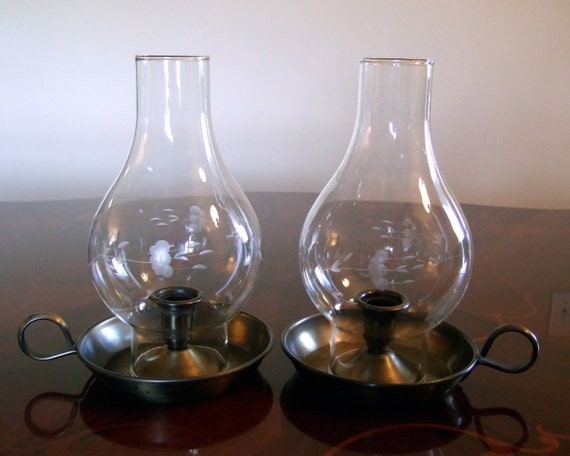 Vintage Pair Of Princess House Crystal Amp Brass Candle