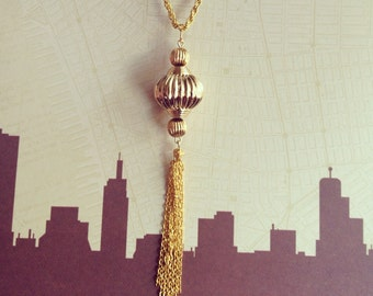 Harris Gold Tassel Necklace - Inspired by Mad Men