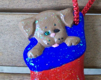 Handpainted Sparkling Stocking with Puppy Ornament