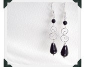 Downton Style Sterling Silver & Black Onyx Drop Earrings. Edwardian Inspired.