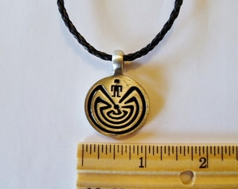 The Maze  Design Fine Pewter  Silver Antiqued Pendant
