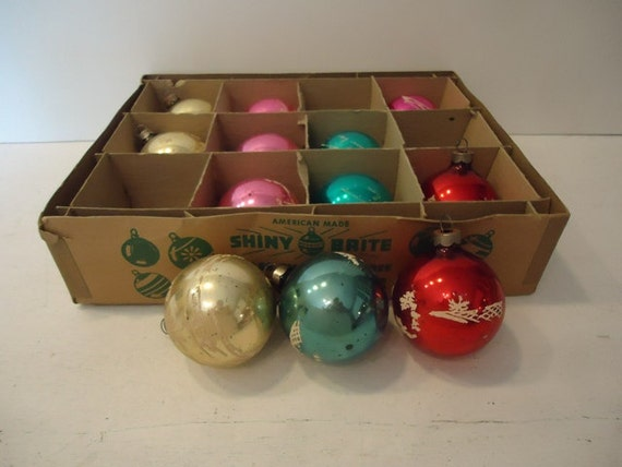 Vintage Christmas Ornaments, Shiny Brite Glass Tree Ornaments