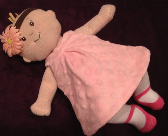 Little Reversible Dress in Pink Bubble Velour and Brown Dot for Baby Stella, Waldorf and 13, 14, 15, 16 Inch Dolls, Doll,Clothes