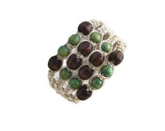Macrame Bracelet, Cuff, Statement, Fibre Bracelet, Boho Jewelry, Green Brown Beige, Beaded, Wooden Beads, OOAK