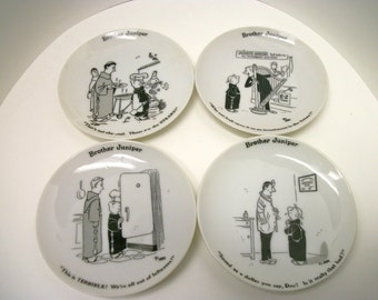 """Vintage Shafford Co. """"Brother Juniper"""" Set of 4 Collectible Mini Plates 1958"""