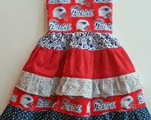 "Girls dress swing top ""Team Football"" boutique hand made 9 month to 5T...Love Tay Boutique"