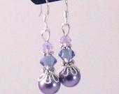 Lavender Pearl & Swarovski Crystal Filigree Dangle Earrings, Purple Jewelry, Lavender Jewelry, Bridesmaids Jewelry, Christmas Gifts