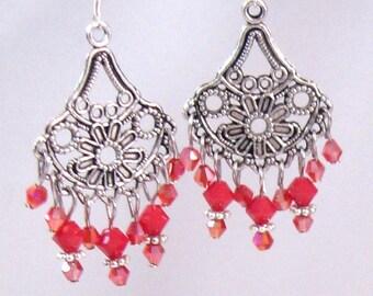 Coral Swarovski Crystal Chandelier Earrings, Coral Jewelry, Red Jewelry, Orange Jewelry, Fall Jewelry, Birthday Gifts