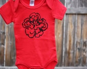 50% off Red Peony Organic Onezee Size 3 to 6 Months