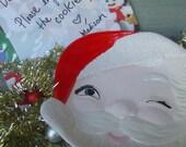 Whimsical Santa cookie plate, cookies for Santa plate, Santas cookies, kitsch Christmas
