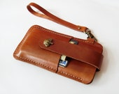 iPhone 6s 6s Plus 5 5s 5c Sleeve - Brown Leather iPhone Case with Crown Button Pull Tap - Easy to Take out - for iPhone 6s Plus 6s 5 5s 5c