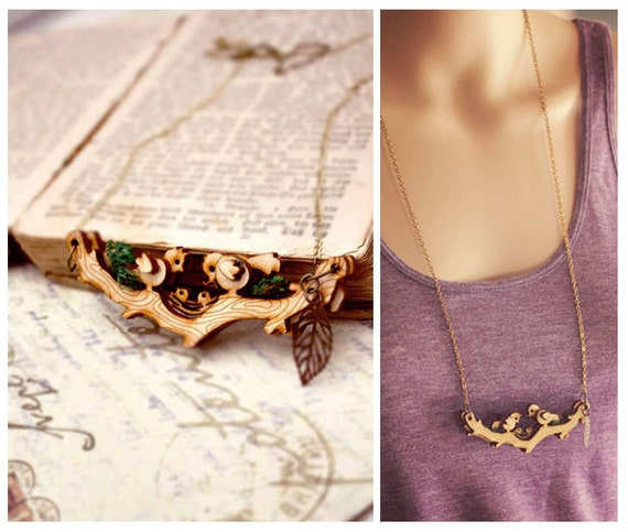 MOVABLE Birds on branch necklace - bird with nest