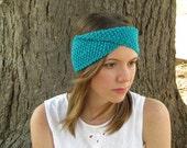 Knit headband, teal stretch ear warmer,infinity head wrap, twist headband, ivory, orange,chartreuse, choose your color