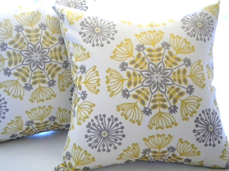 Decorative pillow cover Yellow silver grey Throw by MicaBlue