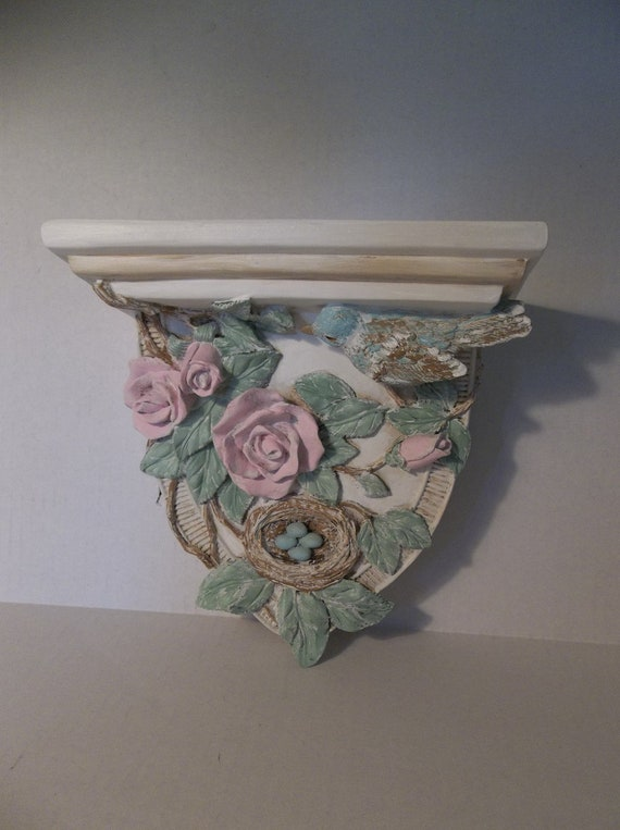 Shabby Cottage chic shelf roses bird pink green blue Paris Home decor wall hanging display