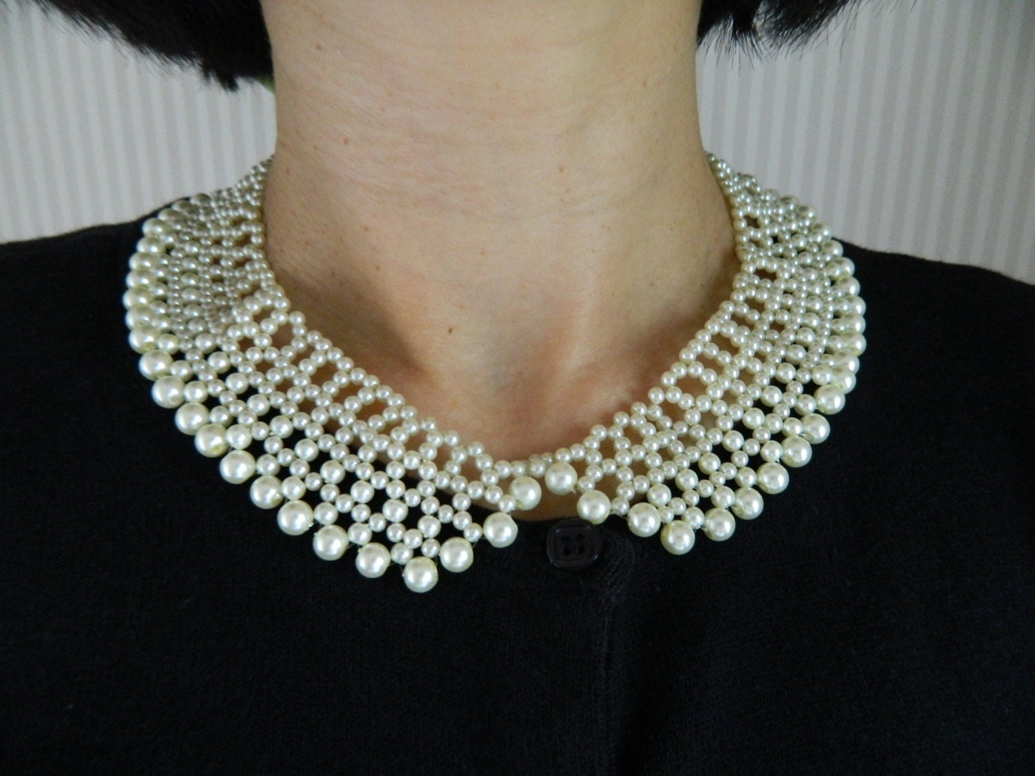 Beaded Collar Necklace With Glass Pearls Peter Pan By