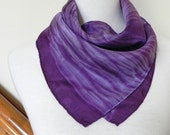 Square Silk Scarf Hand Dyed Dark Orchid Purple, Shibori Tie Dye  Pattern, Ready to Ship