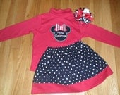 Custom Boutique Baby Girl Toddler Christmas Outfit Minnie Mouse Twirl Skirt and Shirt / Dress READY to SHIP Size 3T/Custom Bow Incl