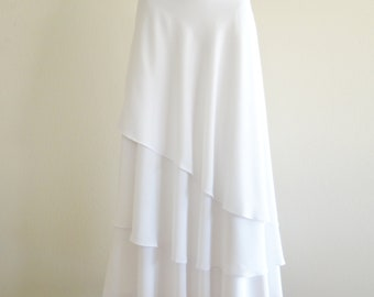 White Long Skirt. White Maxi Skirt. Long Evening Skirt. Party Skirt. Chiffon Floor Length Skirt