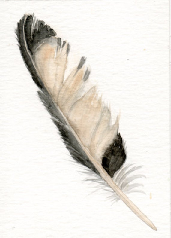 Feather art  - ACEO original watercolor painting, magpie feather, hunting, woods, fall