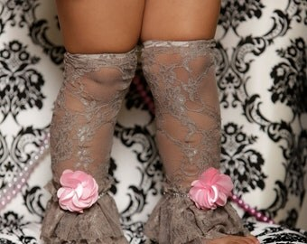 Gray Lace Leg Warmers, Embellished Leg Warmers, Crystals on Leg Warmers, Infant leg warmers