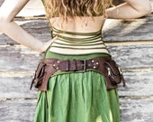 2 Pocket women's, men's  leather belt bag in brown, belt pouch, hip bag, utility belt, bum bag