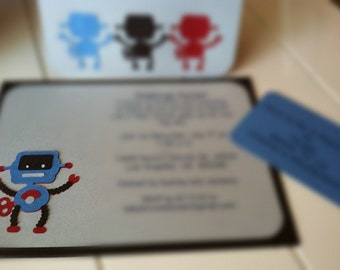 Robot party invitation set
