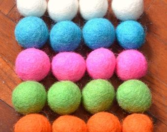 20pcs Colorful Collection Wool Felt Balls (1.5cm or 2cm)