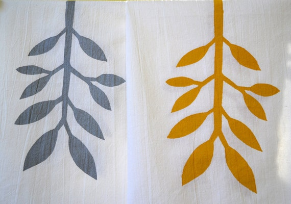 Special Listing For V.C. Cotton Flour Sack Hand Printed Tea Towel in our Leaf Design in Gray and Mustard size 28 by 28