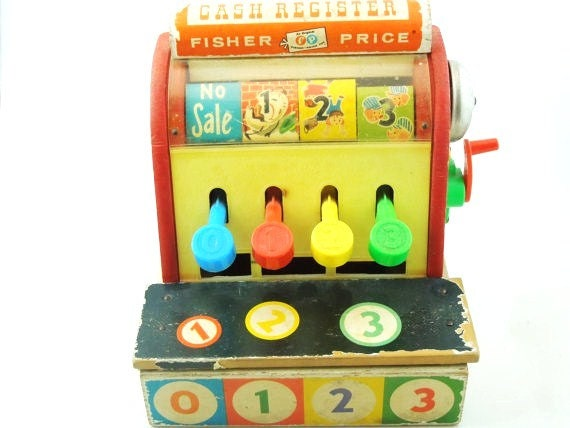 Vintage Toy Cash Register by Fisher Price-Circa 1970's-Bright Mid Century Color-Gifts for Grown Ups and Kids