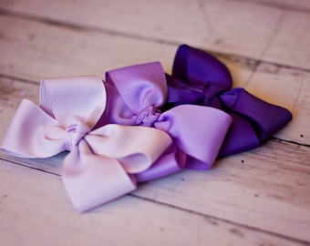 Purple Hair Bow Set - Lavender Bow - Lilac Boutique Bow - Shades of Purple Hair Bows