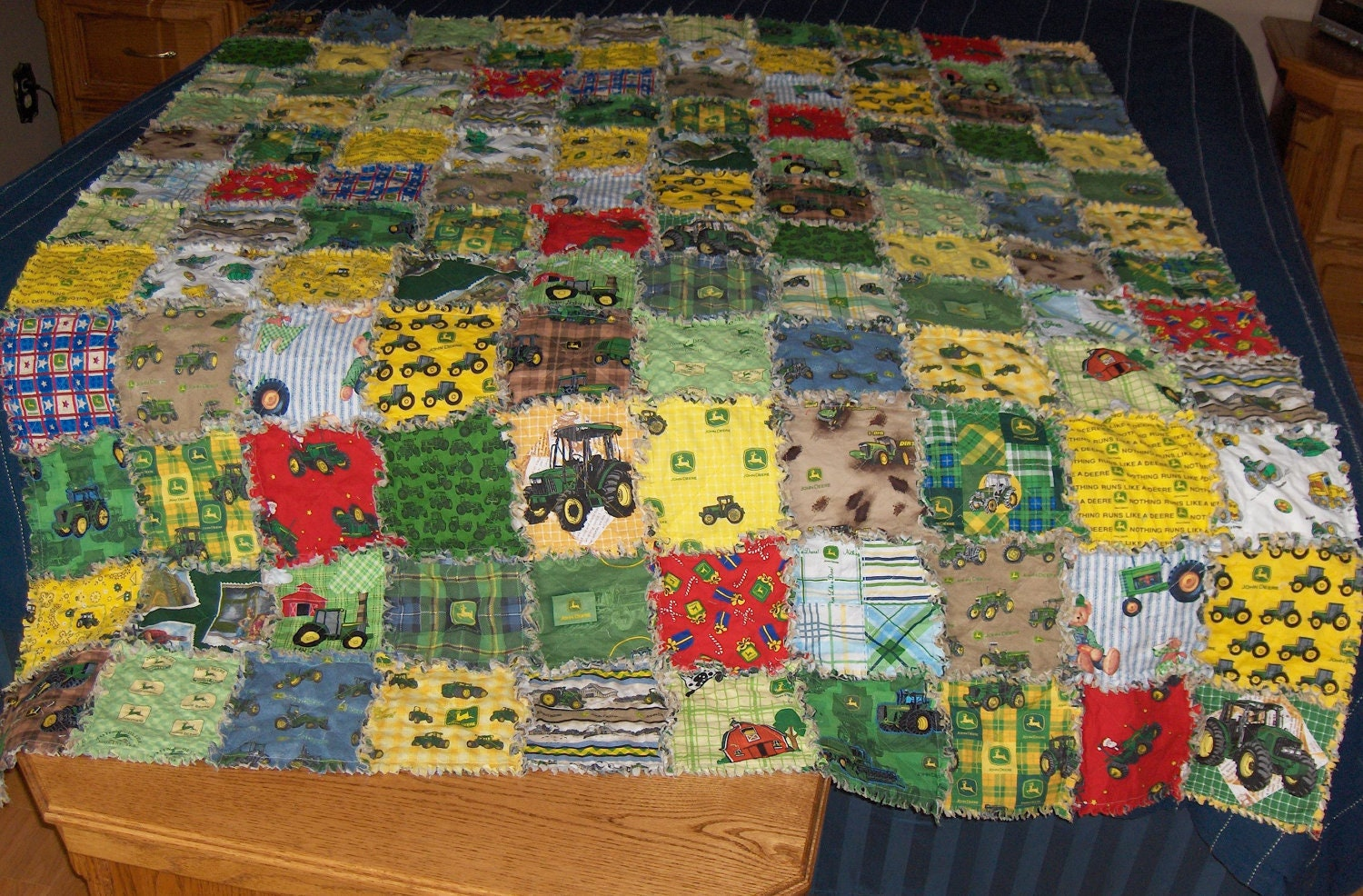 Rag Quilt 24 Different John Deere Fabric Twin Size J By