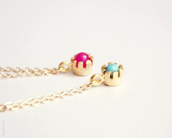 minimalist color pop - gold chain bracelet -  CANDY PINK (one)