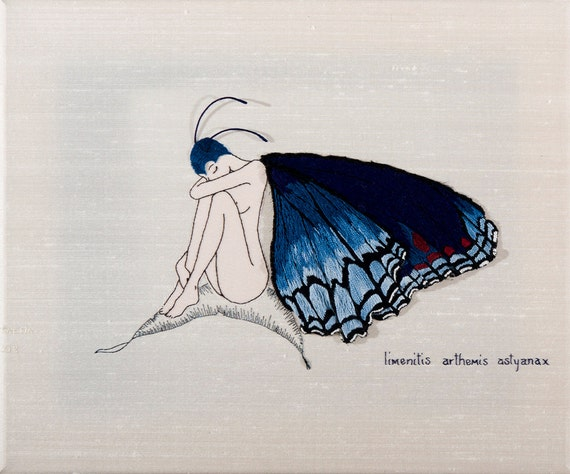Stumpwork Butterfly Girl Limenitis Hand Embroidery Pattern & Instructions--hand embroidered