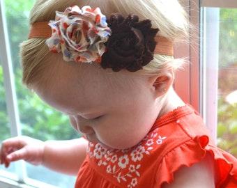 Baby Toddler Headband, Thanksgiving and Fall Color Shabby Chic Flowers. Baby Girl Headband, Thanksgiving Headband, Baby Photo Prop, Newborn