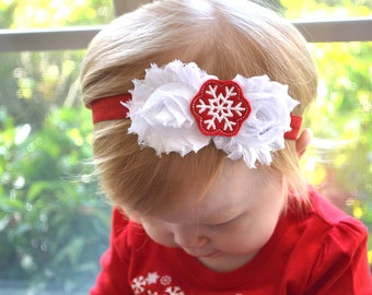 Baby Headband, First Christmas, Christmas hair bow, newborn headband, infant headbands, newborn photo prop, toddler headband, accessories