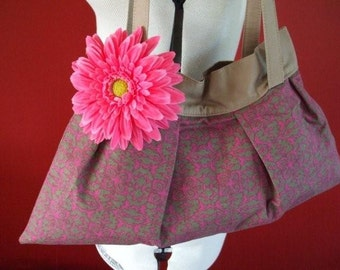 Pleated Shoulder Bag in cerise and beige