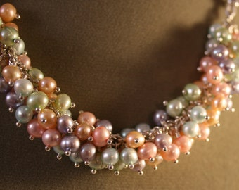 Pastel Freshwater Pearl and Leather Necklace