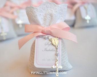 Baptism Favors - Lavender Sachets with Mini Rosary & Pink Ribbon - Baby Girl Baptism Favors -  (set of 40 sachets)