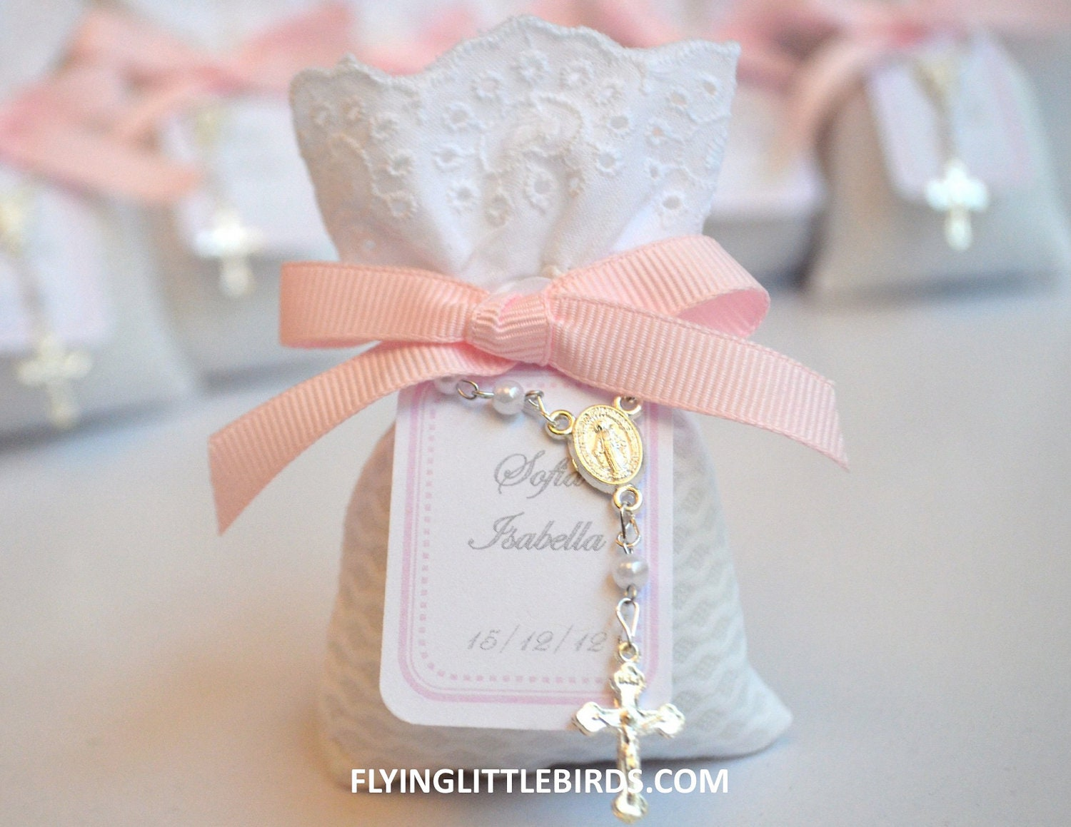 Christening Lavender Sachets With Pink Bow Baby Girl Baptism