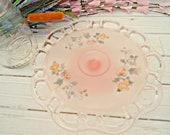 Vintage Pedestal Cake Plate - Vintage Anchor Hocking pink reverse painted frosted plate