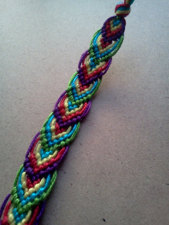 chevron leaf pattern woven friendship bracelet by