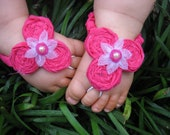 Baby Barefoot Sandals - Hot Pink Rosettes, Barefoot Sandals, Sandals, Sandles